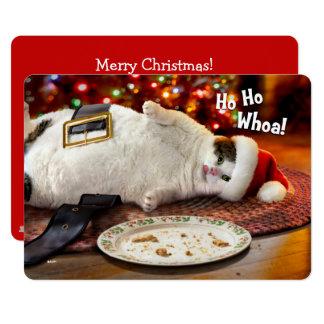 """Gato de la foto el   Santa y galleta de encargo Invitación 5"""" X 7"""""""
