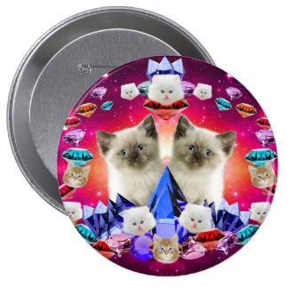 gato de la galaxia en diamante pin redondo de 4 pulgadas