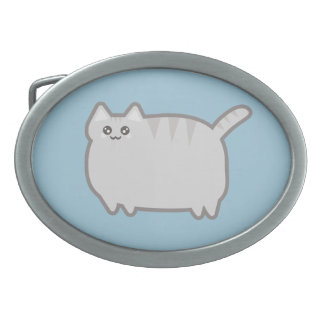 Gato de la grasa de Kawaii Hebilla Cinturon Oval