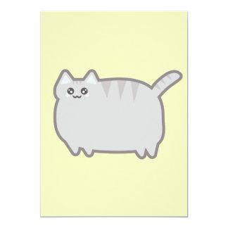 """Gato de la grasa de Kawaii Invitación 5"""" X 7"""""""