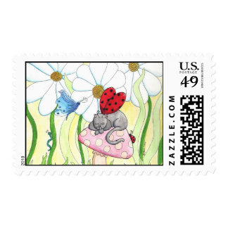 Gato de la hada de la mariquita sello postal