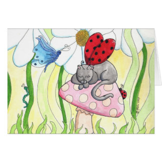 Gato de la hada de la mariquita tarjeta de felicitación