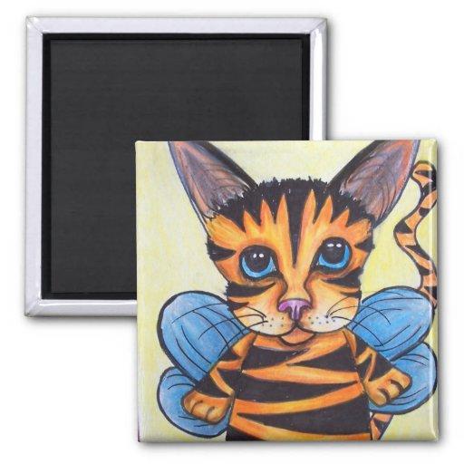 gato de la hada del tigre imán cuadrado