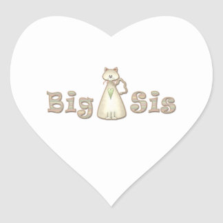Gato de la hermana grande pegatina en forma de corazón