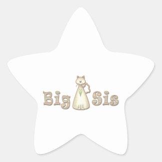 Gato de la hermana grande pegatina en forma de estrella