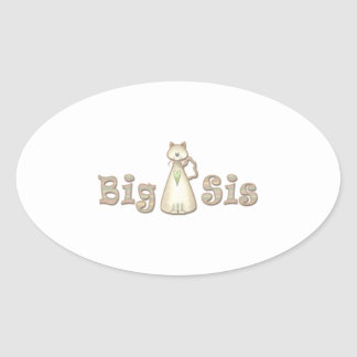 Gato de la hermana grande pegatina ovalada