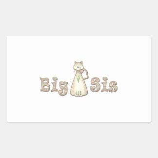 Gato de la hermana grande pegatina rectangular