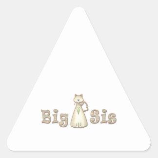 Gato de la hermana grande pegatina triangular