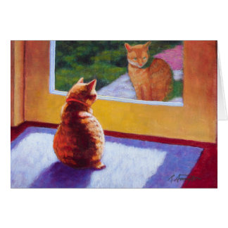 Gato de la Isla de Man anaranjado del guarda Tarjeta De Felicitación