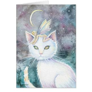 Gato de la luna de la astilla y tarjeta de la acua