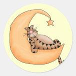 Gato de la luna y de la estrella pegatina redonda