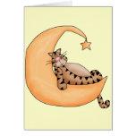 Gato de la luna y de la estrella tarjetón