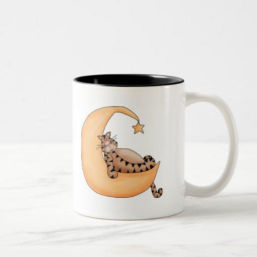 Gato de la luna y de la estrella tazas de café