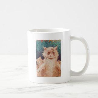 Gato de la madre e ilustraciones de cinco gatitos taza de café