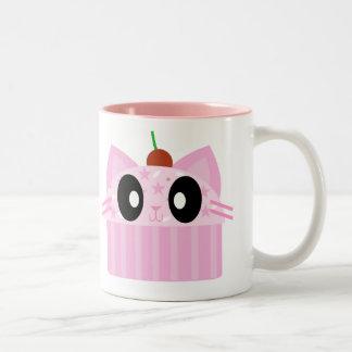 gato de la magdalena del kawaii taza de café de dos colores