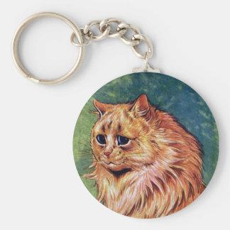 Gato de la mermelada con los ojos azules llavero redondo tipo pin