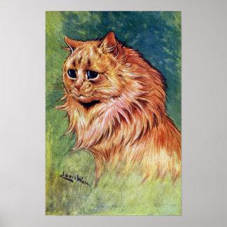 Gato de la mermelada con los ojos azules poster