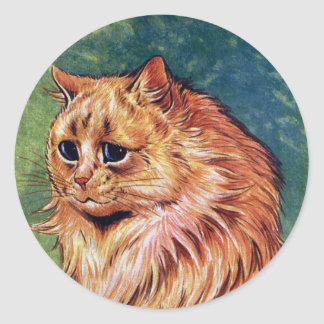 Gato de la mermelada con los ojos azules pegatina redonda