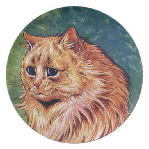 Gato de la mermelada con los ojos azules plato para fiesta