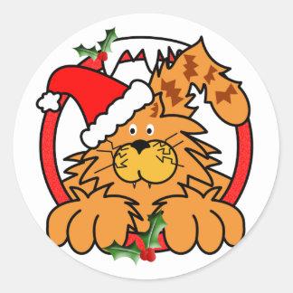 Gato de la mermelada en el navidad pegatina redonda