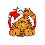 Gato de la mermelada en el navidad tarjeta postal
