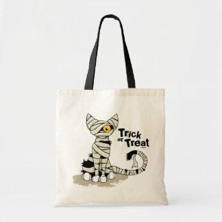 Gato de la momia del truco o de la invitación - bo bolsa tela barata