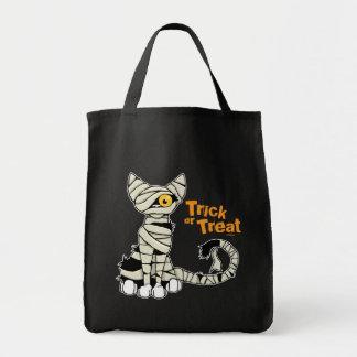 Gato de la momia del truco o de la invitación - bo bolsa tela para la compra