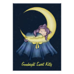 Gato de la nana de Luna que duerme en la luna Poster