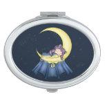Gato de la nana de Luna que duerme en la luna Espejo Compacto