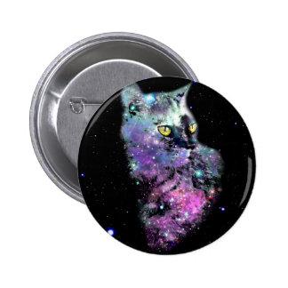 Gato de la nebulosa en espacio pin redondo de 2 pulgadas