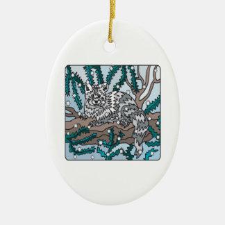 Gato de la nieve adorno ovalado de cerámica