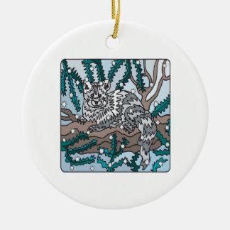 Gato de la nieve adorno redondo de cerámica