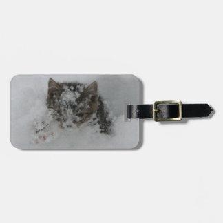 Gato de la nieve etiqueta para maleta