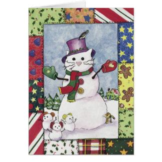 Gato de la nieve y ratones de la nieve, tarjeta de