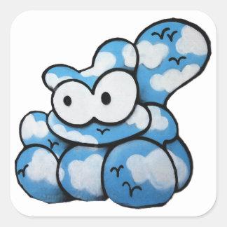 Gato de la nube del dibujo animado pegatinas cuadradases personalizadas