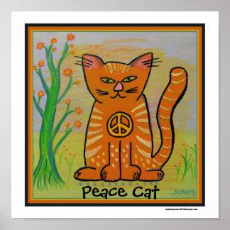 Gato de la paz con las flores póster