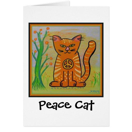 Gato de la paz con las flores tarjeta de felicitación