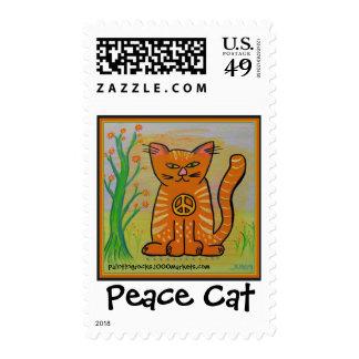 Gato de la paz con las flores timbres postales