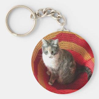 Gato de la perla en afgano llavero redondo tipo pin