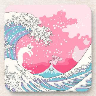 Gato de la persona que practica surf de posavasos