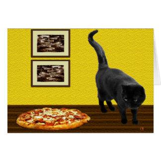 Gato de la pizza tarjeta de felicitación