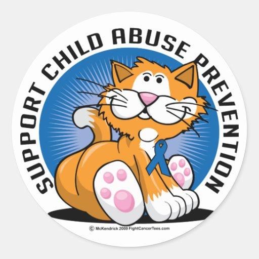 Gato de la prevención de la pederastia pegatina redonda