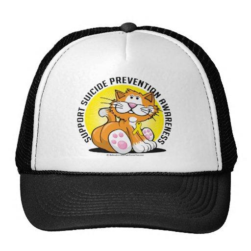 Gato de la prevención del suicidio gorros