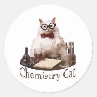Gato de la química (de reddit de los memes 9gag) pegatina redonda