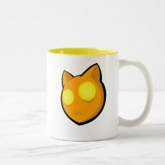 Gato de la risita taza de dos tonos
