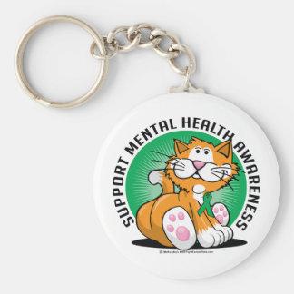 Gato de la salud mental llavero redondo tipo pin