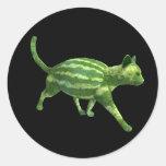 Gato de la sandía pegatina redonda