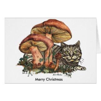 Gato de la seta de las Felices Navidad Tarjeta De Felicitación