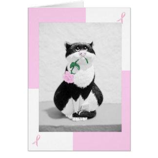 Gato de la tarjeta del cáncer de pecho y color de