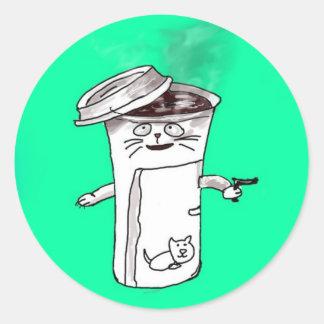 Gato de la taza de café etiquetas redondas